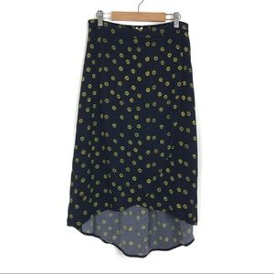 J. Crew | Navy Daisy Printed High-Low Wrap Skirt